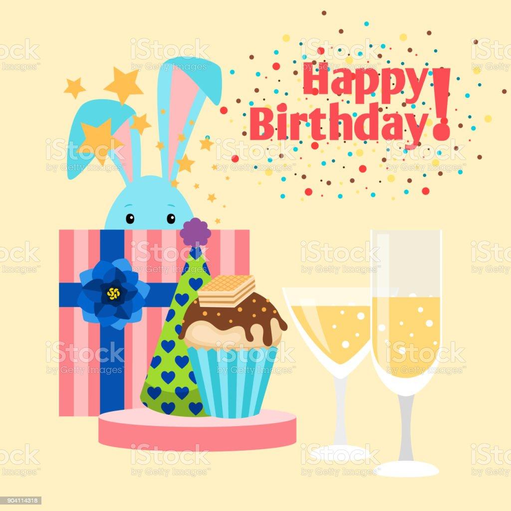 Happy Birthday Card With Rabbit