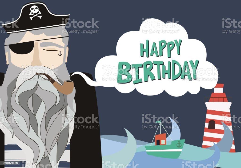 Happy Birthday Card Mit Seemann Vektor Illustration Lizenzfreies Vektorillustration