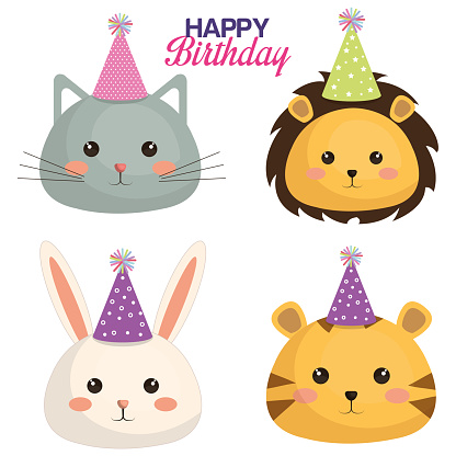 happy birthday card with set cute animals