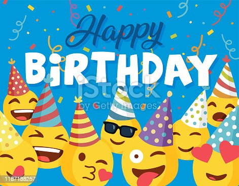 istock Happy Birthday card with smileys. 1187188257