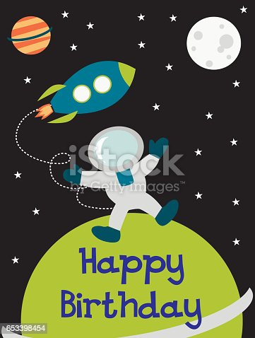 Happy Birthday Card With Space Theme Stock Vector Art 653398454 Istock