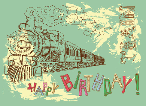 Happy birthday card with steam train for boys