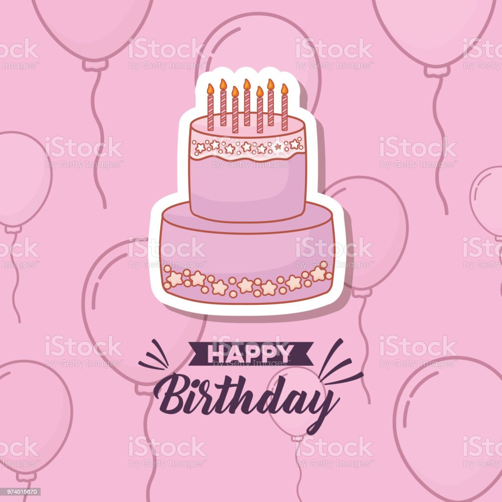 Happy Birthday Card With Sweet Cake And Balloons Helium Royalty Free