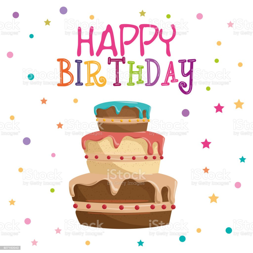 Happy Birthday Card With Sweet Cake Stock Vector Art More Images