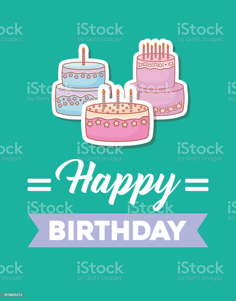 Happy Birthday Card With Sweet Cakes Stock Illustration