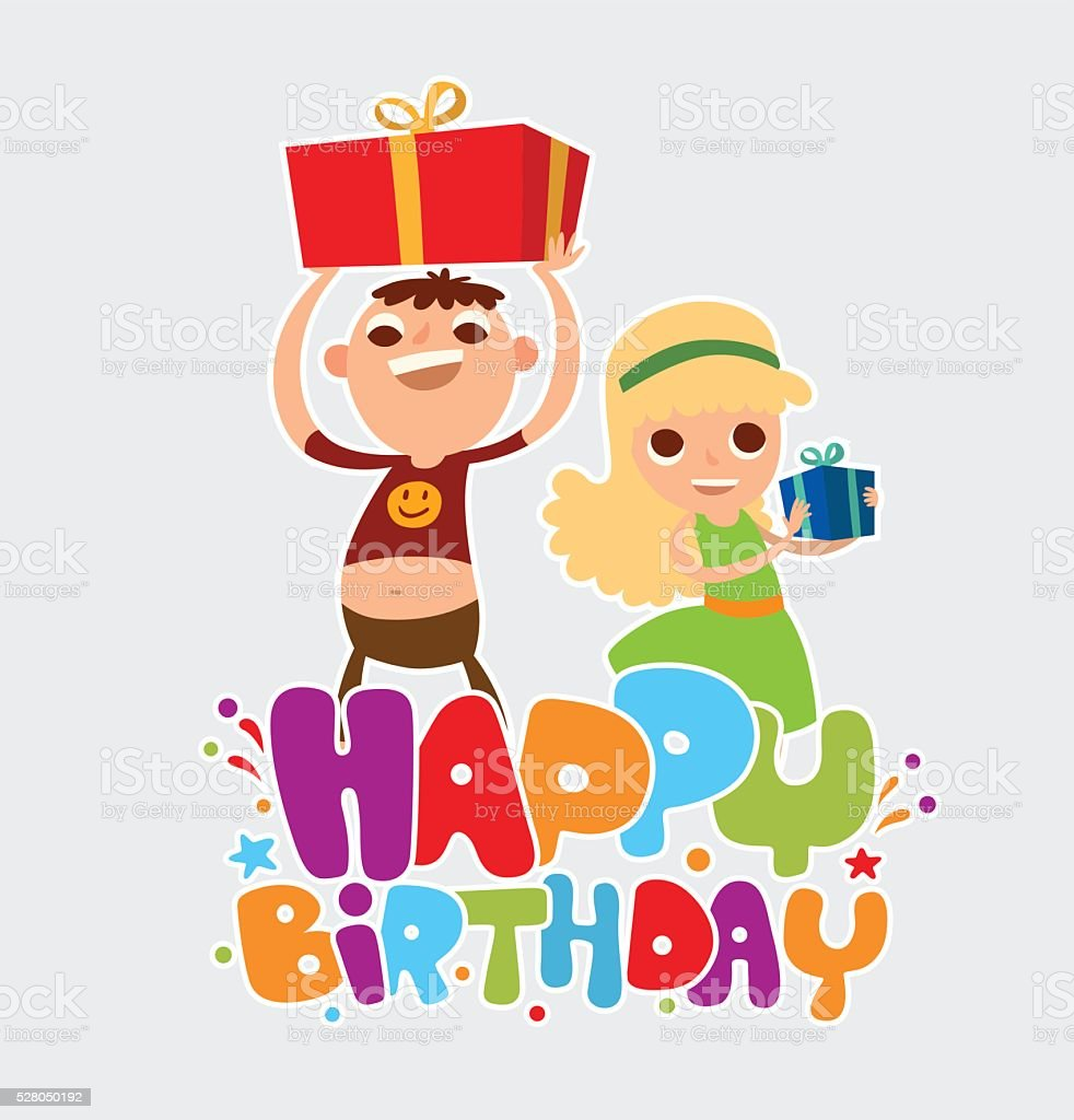 Happy birthday card with two friends of girl and boy stock vector happy birthday card with two friends of girl and boy royalty free happy birthday card bookmarktalkfo Gallery