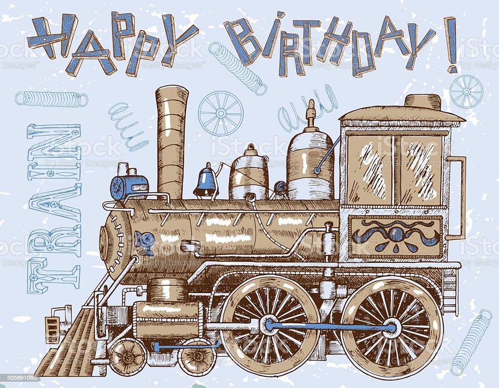 Carte De Joyeux Anniversaire Avec Train Sur Bleu Vintage Cliparts