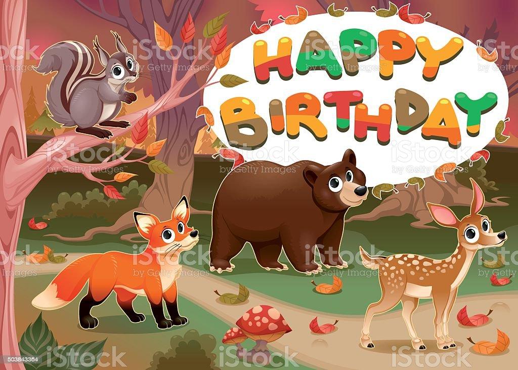 Carta Di Buon Compleanno Con Animali In Legno Immagini Vettoriali
