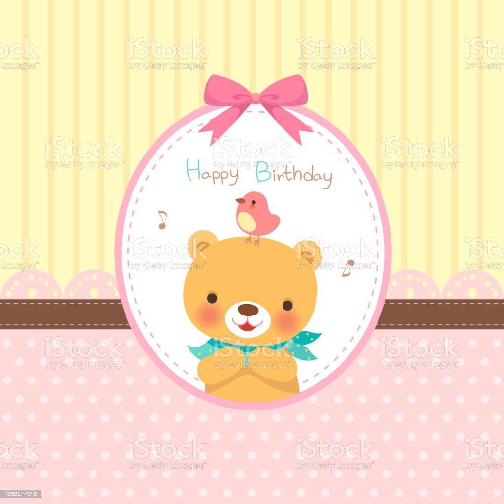 お誕生日おめでとうカードピンクのリボンのフレームに鳥とかわいいクマ