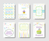 Happy Birthday cards set. Greetings with cute decorations.