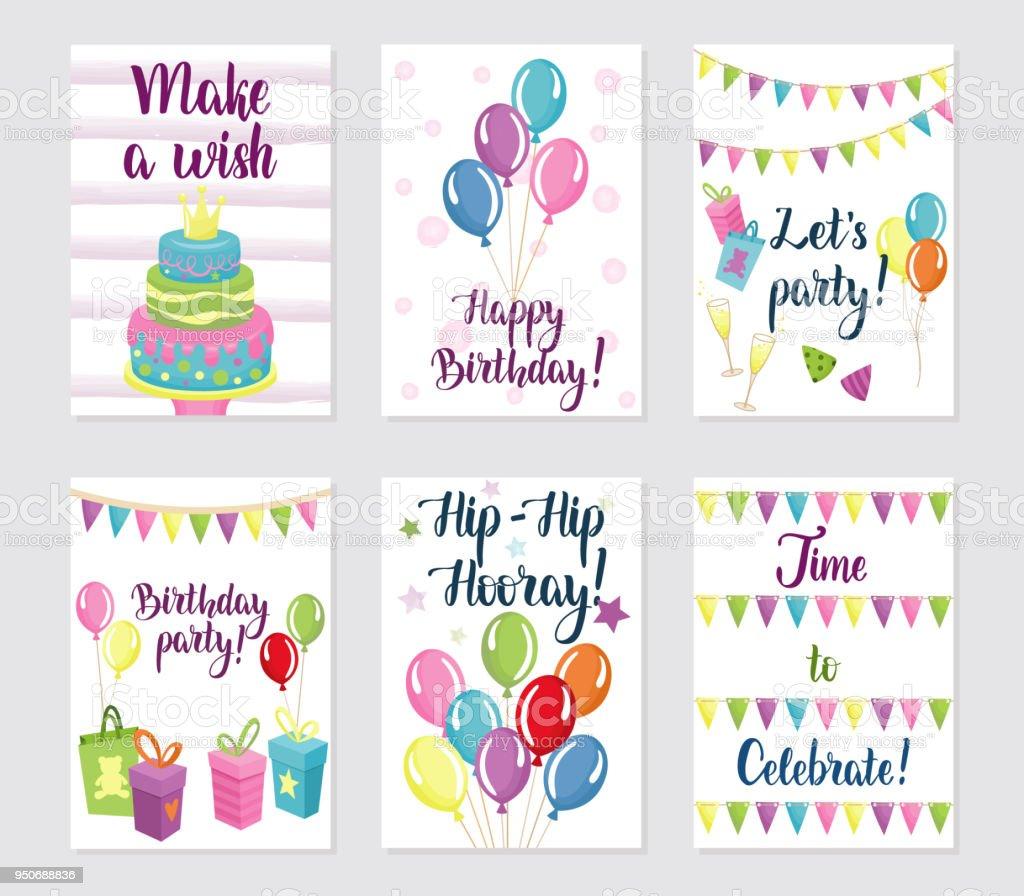 Alles Gute Zum Geburtstagskarten Festgelegt Stock Vektor Art und mehr  Bilder von Abstrakt