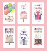 Set of birthday greeting cards with cute cakes, gifts and balloons. Editable vectors on layers.