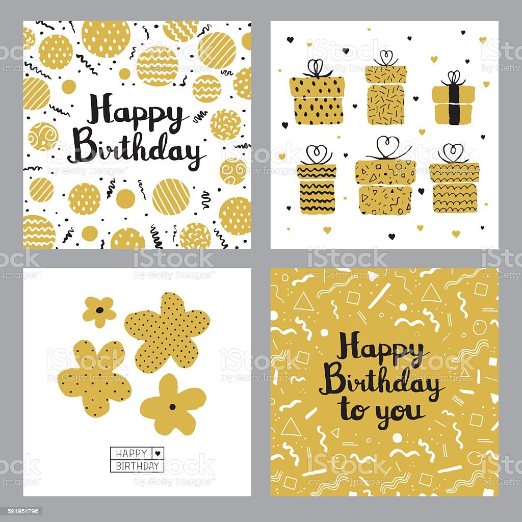 Happy birthday cards vector art illustration