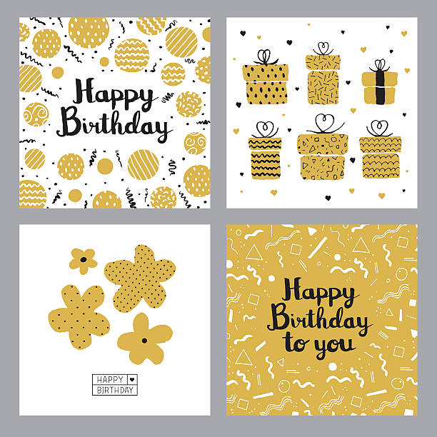 happy birthday cards - anniversary designs stock illustrations