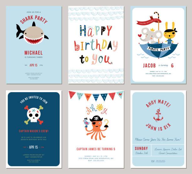 alles gute zum geburtstag cards_02 - piratenschrift stock-grafiken, -clipart, -cartoons und -symbole