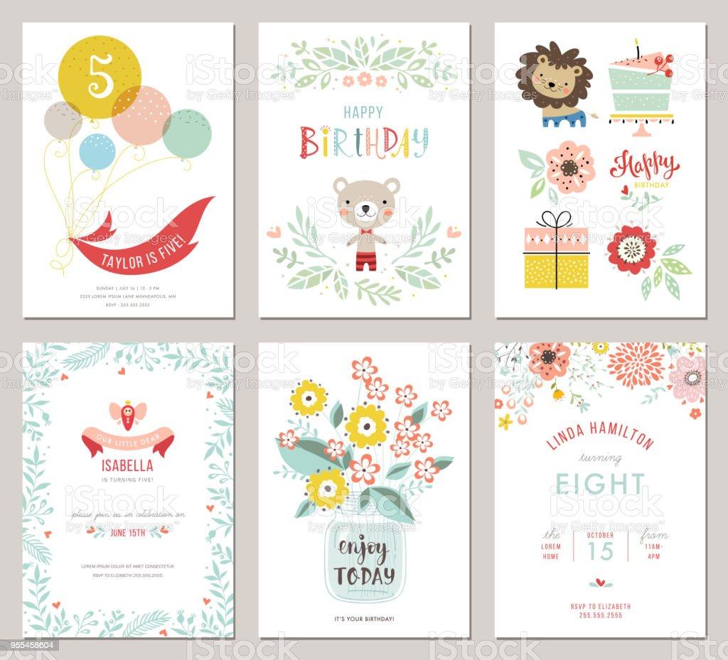 Feliz aniversário Cards_03 - ilustração de arte em vetor