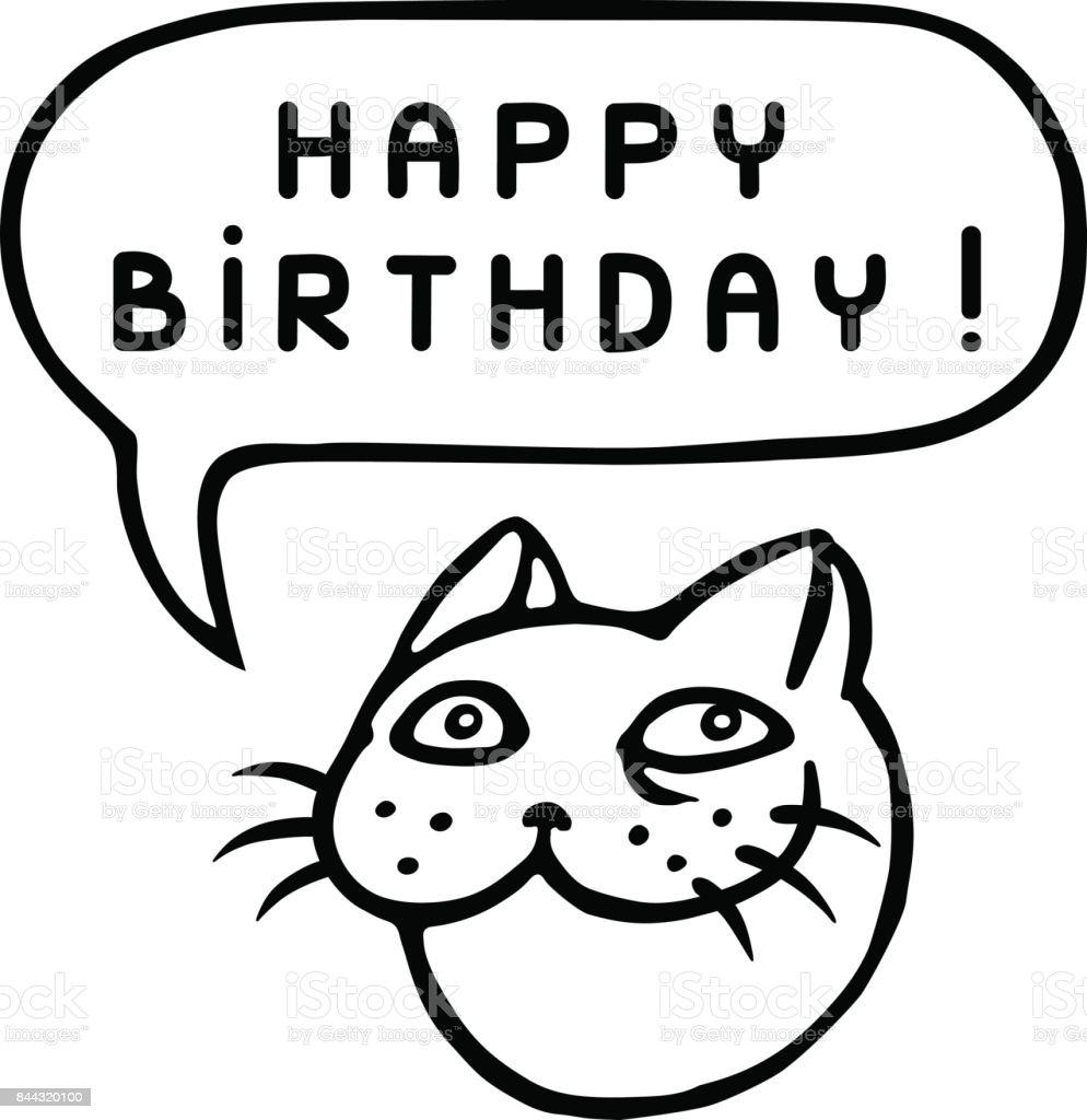 Herzlichen Glückwunsch Zum Geburtstag Cartoonkatzekopf Sprechblase  Vektorillustration Stock Vektor Art und mehr Bilder von Blase    Physikalischer ...