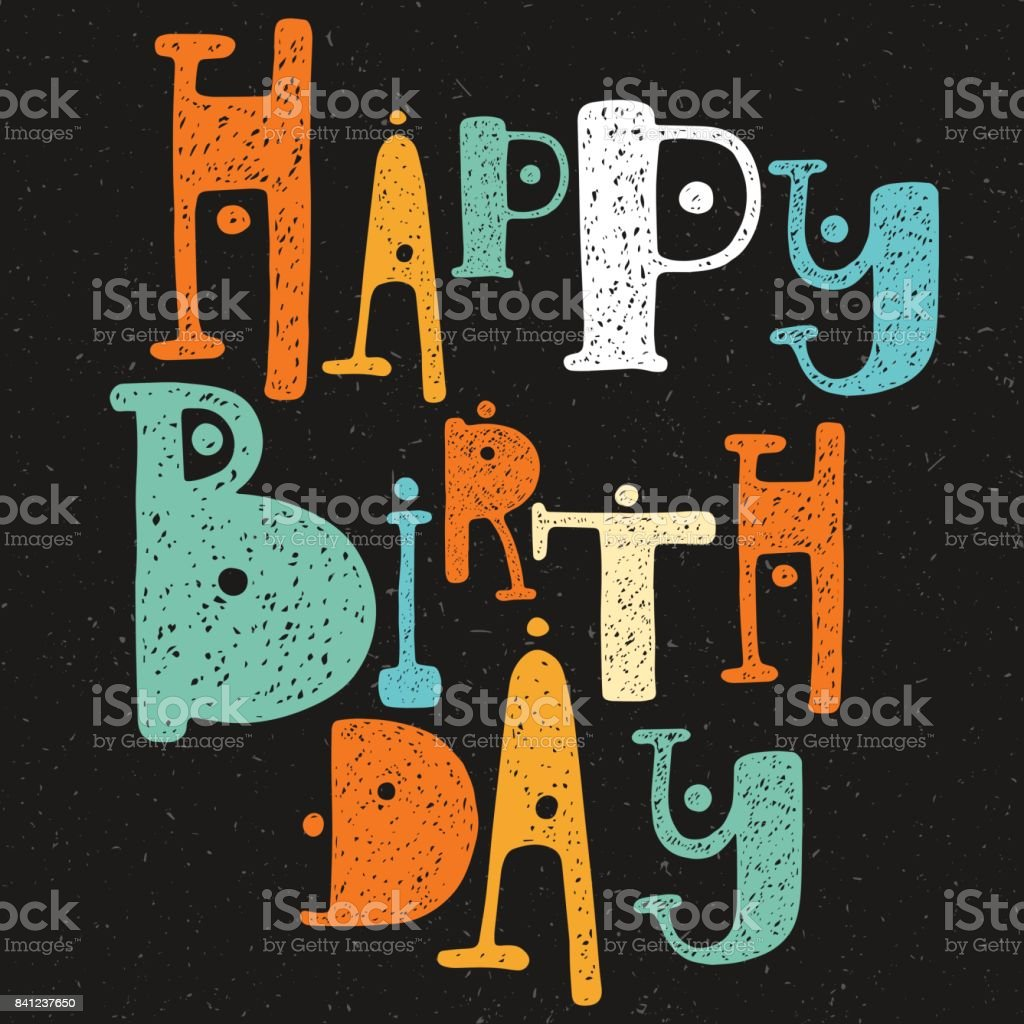 happy birthday cartoon style letters on black royalty free stock vector art