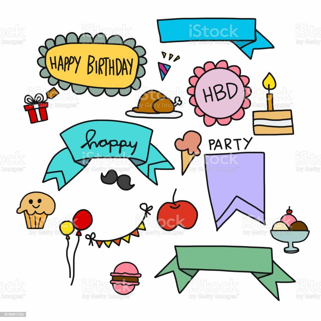 Alles Gute Zum Geburtstag Cartoon Vektor Doodle Set Abbildung Stock Vektor Art Und Mehr Bilder Von Baby