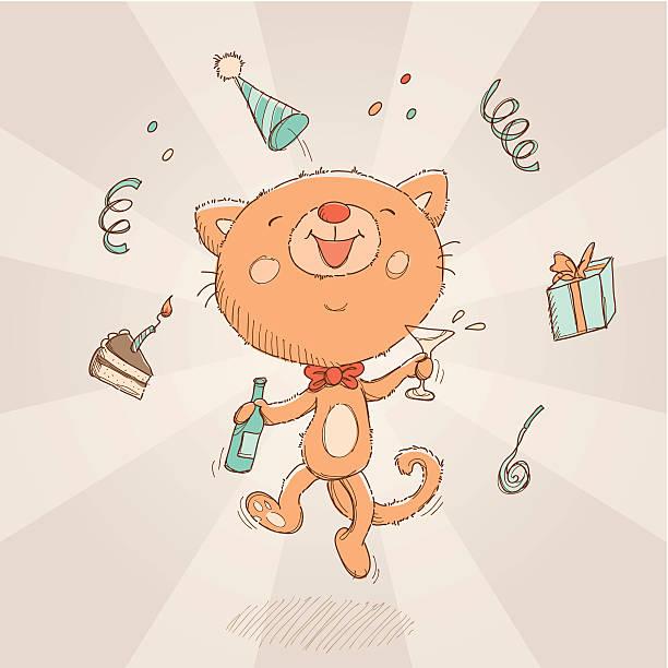 Happy Birthday cat card vector art illustration