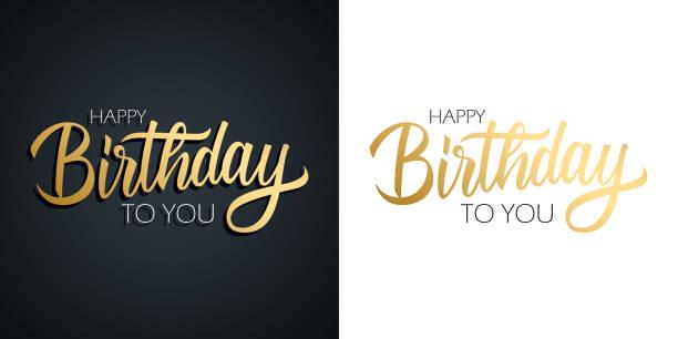 ilustraciones, imágenes clip art, dibujos animados e iconos de stock de feliz cumpleaños celebrar conjunto. tarjetas de felicitación con diseño de texto de letras a mano de color dorado. - cumpleaños