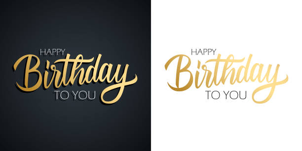 Happy Birthday celebrate set. Greeting cards with golden colored hand lettering text design. Happy Birthday celebrate set. Greeting cards with golden colored hand lettering text design. Vector illustration. birthday stock illustrations
