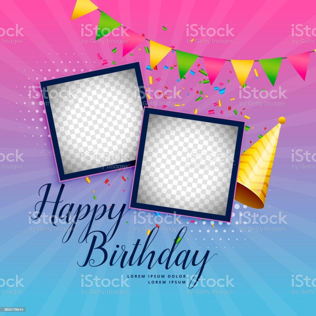 Happy Birthday Feier Hintergrund Mit Fotorahmen Stock Vektor Art und ...