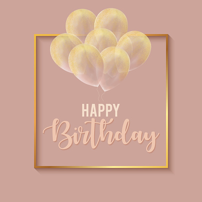Happy Birthday Celebration Card Template with Gold Frame and Gold Colored Glittering Hand Drawn Balloons.
