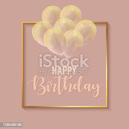 istock Happy Birthday Celebration Card Template with Gold Frame and Gold Colored Glittering Hand Drawn Balloons. 1280495180