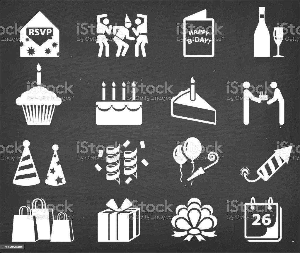 Happy birthday celebration chalk board vector icon set vector art illustration