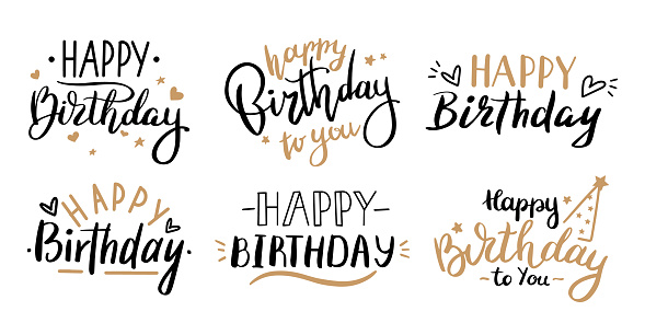 Happy birthday celebration concept. Greeting birthday party lettering with celebration hand draw elements, decorative greeting lettering cards vector isolated illustration set
