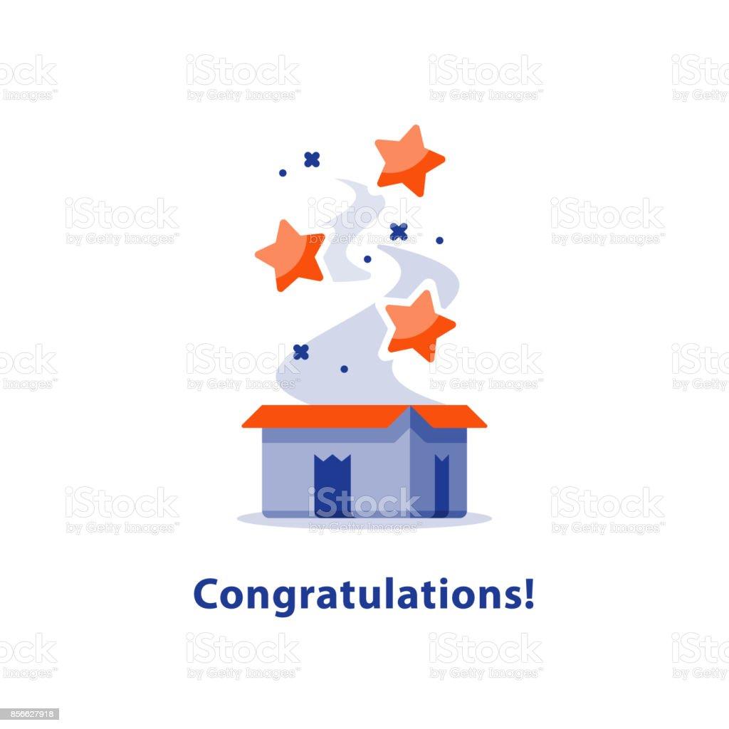 Happy birthday celebration event, open gift box, surprise present, congratulation, special reward prize vector art illustration