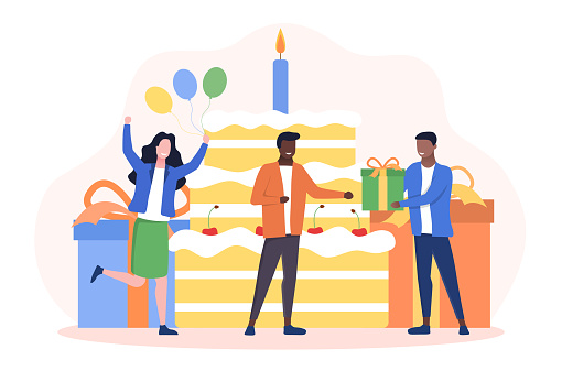 Happy birthday celebration party concept.