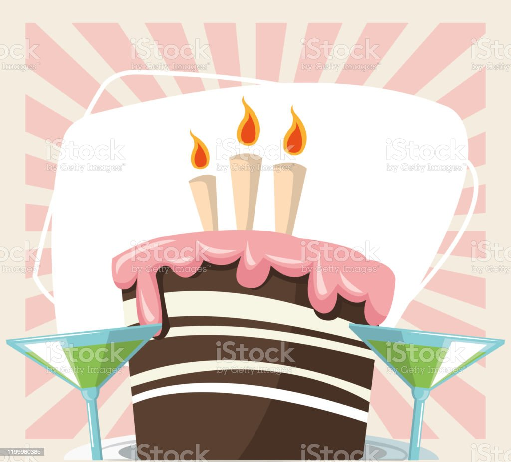 Happy Birthday Celebration Party Sweet Cake And Cocktails Drink Stock Illustration Download Image Now Istock