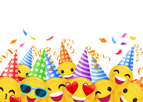 Happy Birthday cheerful and joyful greeting card with bright colourful characters, blank text place. High quality vector illustration