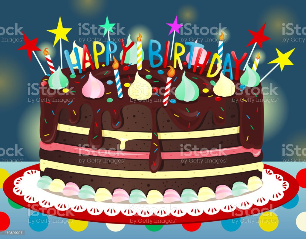 Fantastic Happy Birthday Chocolate Cake Stock Illustration Download Image Funny Birthday Cards Online Fluifree Goldxyz