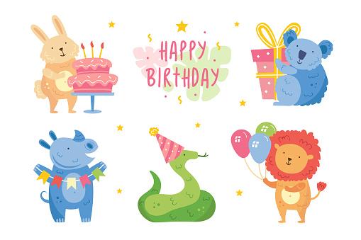 Happy birthday clip art, set. Cute animals celebrating together. Rabbit, coala, rhino, snake, lion. Holiday decoration, present, cake. Vector illustration for children. Isolated on white background.