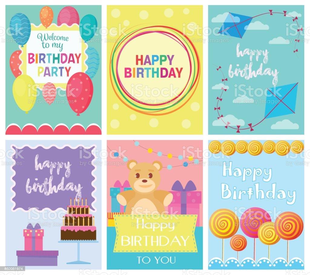 Happy Birthday Sammlungssatz Von Einladungskarten Vorlagen Zur Party