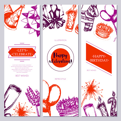 Happy Birthday Color Drawn Template Banner Stock ...