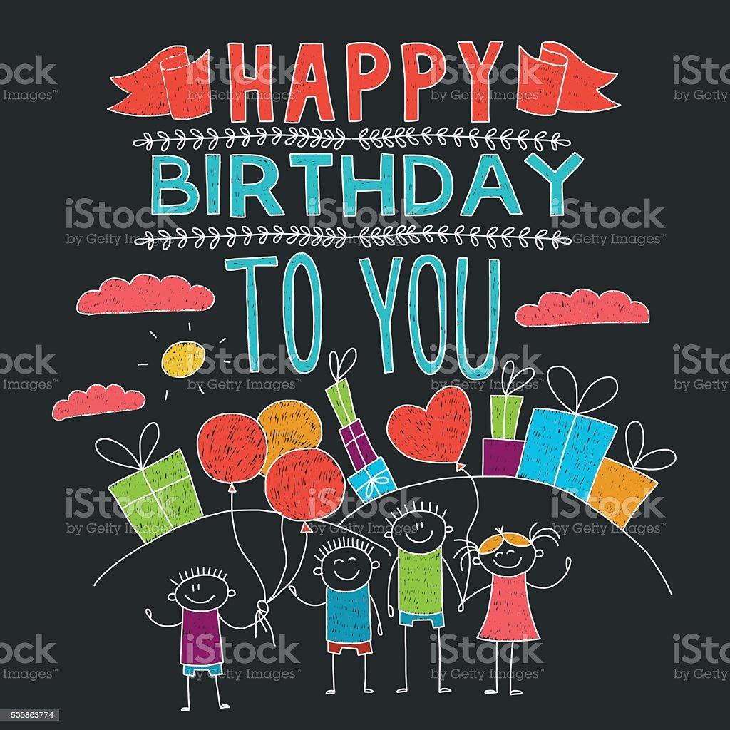 Herzlichen Glückwunsch Zum Geburtstag Bunte Hand Drawn Postkarte