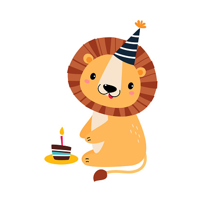Happy Birthday Concept, Adorable Lion Baby Animal with Festive Cupcake, Baby Shower Celebration Element Cartoon Vector Illustration