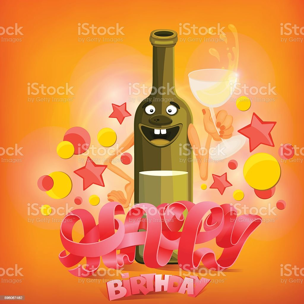 Happy Birthday concept card with wine bottle character royalty-free happy birthday concept card with wine bottle character stock vector art & more images of backgrounds