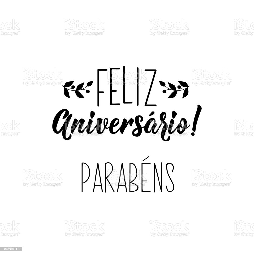 Happy Birthday Congratulations In Portuguese Ink Illustration With Handdrawn Lettering Feliz Aniversario Parabens Stock Illustration Download Image Now Istock