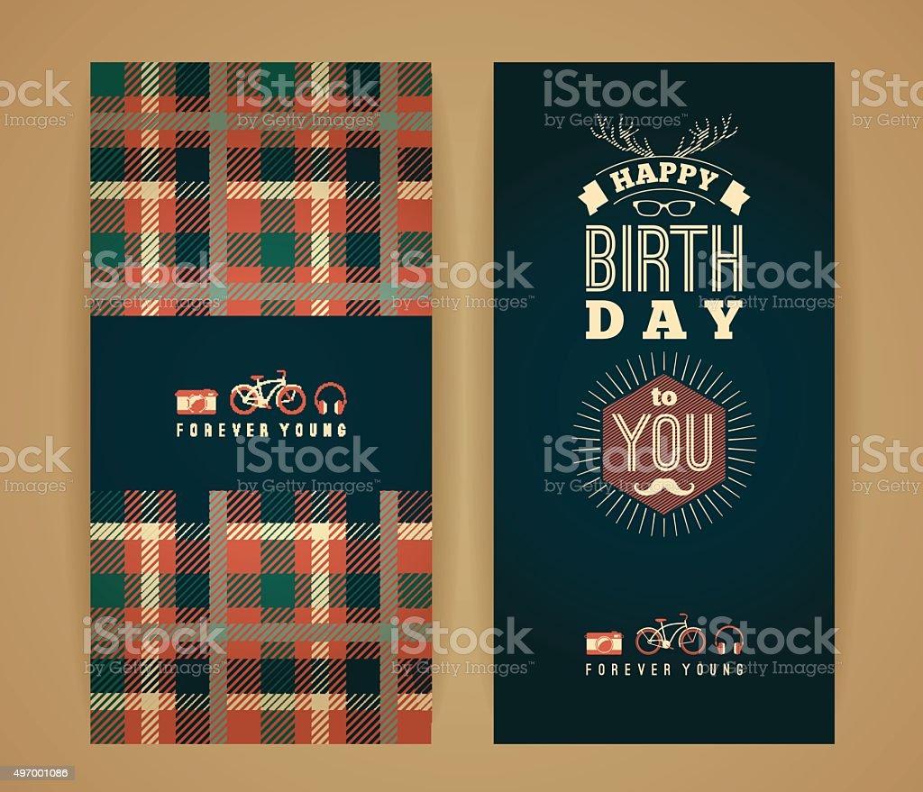 Happy birthday congratulations, vintage retro background with...