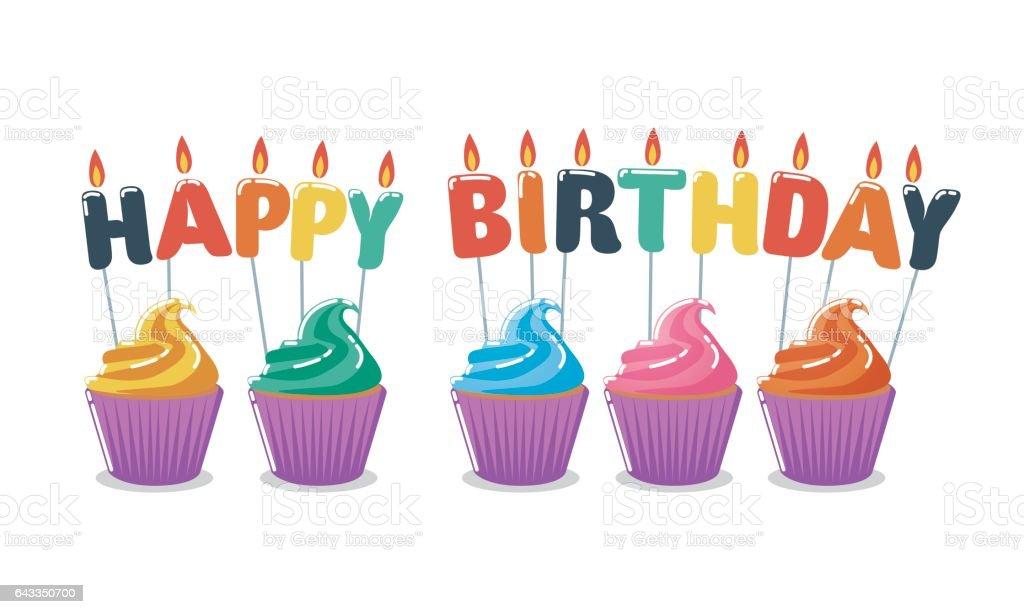 Cupcakes Joyeux anniversaire - Illustration vectorielle