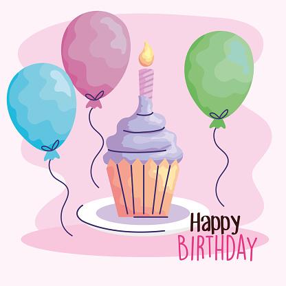 happy birthday cupcake with balloons helium acuarela style