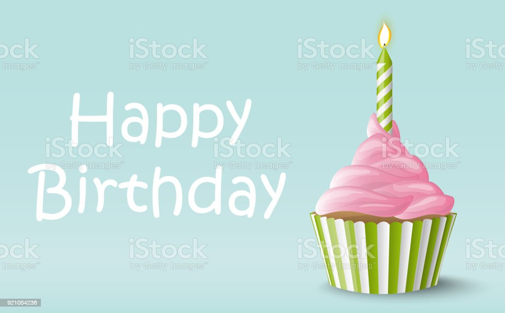 Happy Birthday cupcake with candle vector art illustration