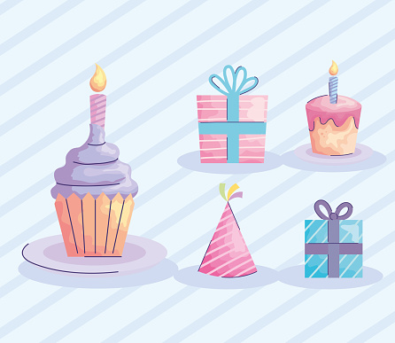 happy birthday cupcake with set icons acuarela style