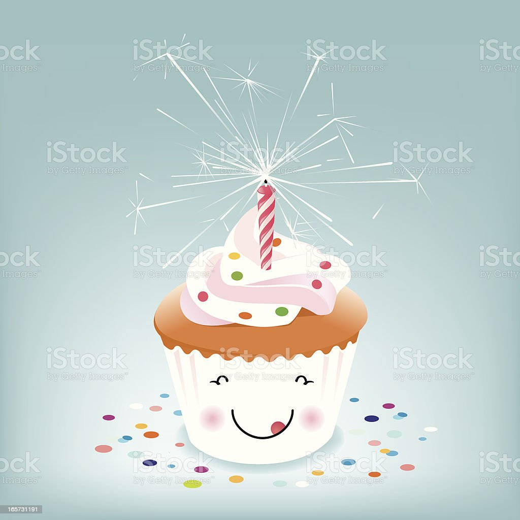 Happy Birthday Cupcake With Sparkler Candle Royalty Free Stock