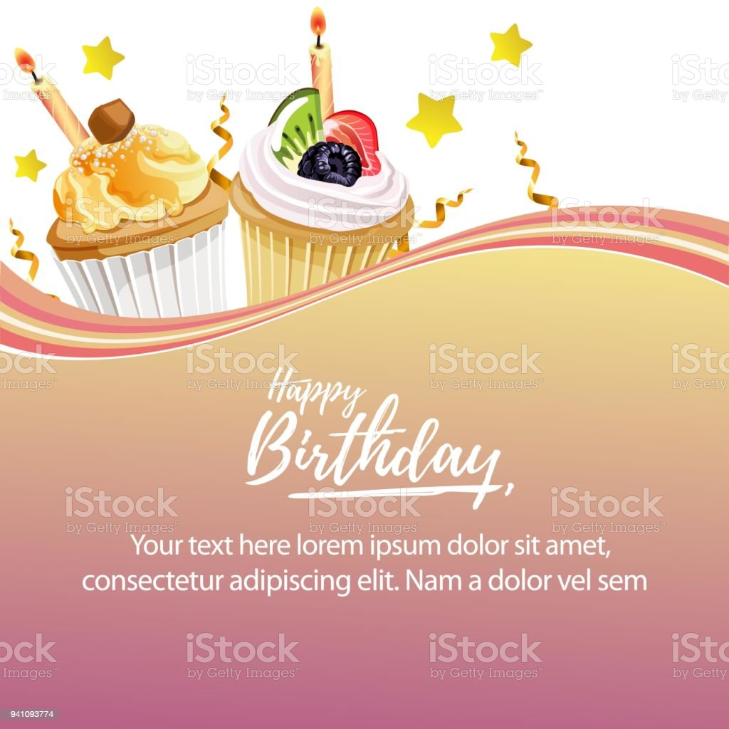 happy birthday cupcakes template stock vector art more images of